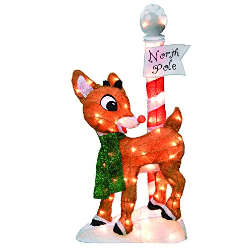 ProductWorks 32-Inch Pre-Lit Rudolph The Red-Nosed Reindeer Christmas Yard Decoration, 70 Lights (70508_L2D)