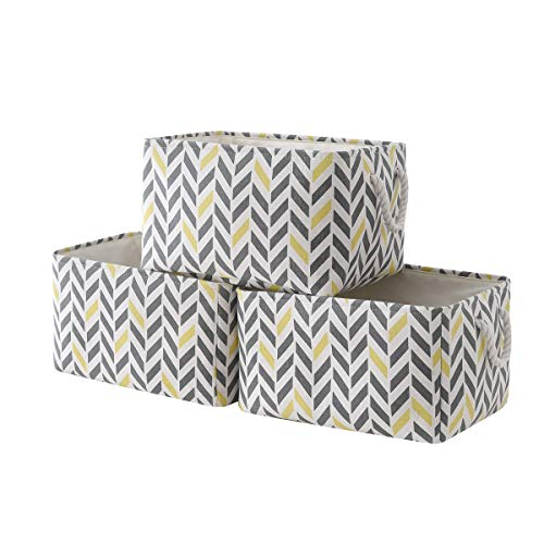 pulnimus Fabric Storage Baskets 3-Pack Rectangle Storage Basket Toy Baskets for Organizing with Handles for Shelves,Organizing Closet Basket,Nursery Basket,Clothes, Playroom and Office (Gray Yellow)