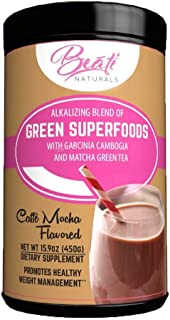 BEATI NATURALS Mocha Flavored Green Super Food Drink - 27 Total Superfoods - 30 day powder supplement supply.