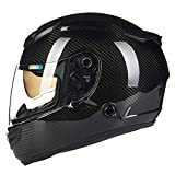 LALEO Casco Moto Modular Integral, 12K Fibra de Carbon Ultraligero Alta dureza Doble Visera Transpirable Mantener Caliente Unisexo Hombres Mujeres Adulto ECE Certificado M-2XL (54-62cm),M