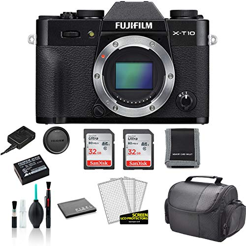 FUJIFILM X-T10 Mirrorless Digital Camera (Body Only) - Kit with 2X 64GB Memory Cards + More