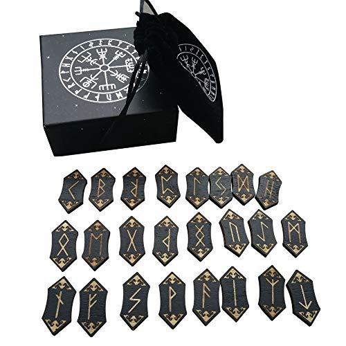 ZDYS Tarot Cards - Juego de tarjetas de madera para meditación y adivinación de runa nórdica, con bolsa de almacenamiento para principiantes