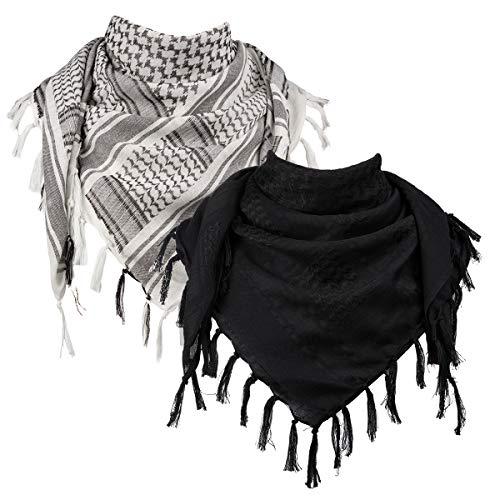 FREE SOLDIER Halstuch/Kopftuch Shemagh,100% Baumwolle Palituch Taktischer Schal Arabischer Wüsten Schals Unisex dreieckstuch,110 * 110cm,Schwarz & Weiß Set