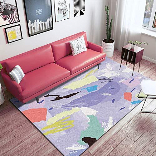 WQ-BBB Decoracion Habitacion Bebe Antideslizante Decoración Colorida Estilo Doodle Azul Amarillo Negro Rosa Alfombra Comedor 50X80cm