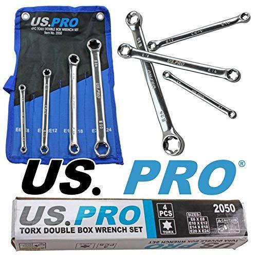 US Pro 2050 Doppelringschlüssel Satz E6-E24 Schlüssel E-Profil für Aussen-Torx Schrauben