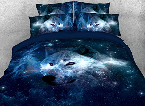 KINBEDY 3D Tencel Cotton 3PC Galaxy Colorful Wolf Print Comforter Sets Twin Size Comforter Bedding Sets 1 Comforter with 2 Pillowcases. (Wolf, Twin)