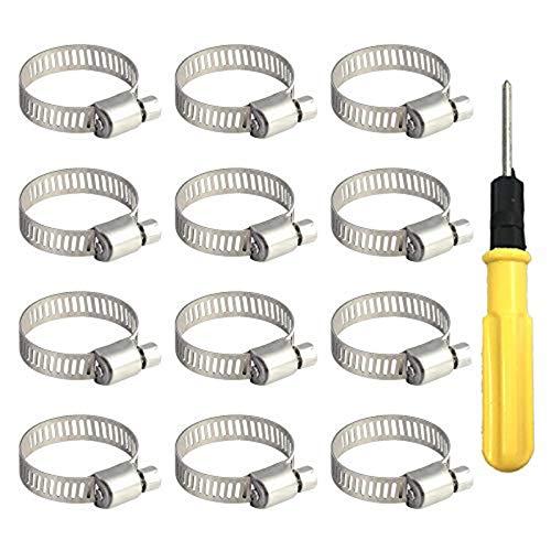 Sprießen 12PCS Abrazadera de manguera, 18-32 mm Abrazaderas Metalicas Tubo Inoxidable, Clips de manguera de banda 9 mm con 1 destornillador para tuberías de agua domésticas/mangueras de automóviles