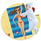 Alfombras redondas bebé gateando Mat algodón infantil rastrero Playmat niños antideslizante juego manta decoración habitación chica en la playa