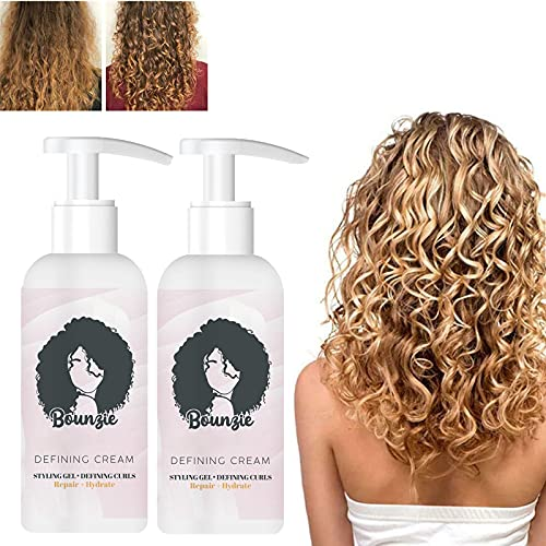 Bounzie Curl Boost Defining Cream 2021, Curl Boost Defining Cream Haarherstellende Bounce, 50 Ml Professional Styling Gel, Curl and Style Curl Definition, Ontklit En Vermindert Kroezen (2 STUKS)