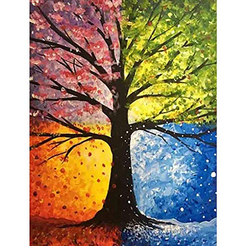 5D Full Round Drill Diamond Painting Kit, DIY Diamond Rhinestone Painting Kits for Adults Embroidery Arts Home Decor Four Season Tree 11.8x15.7in 1 Pack by witfox