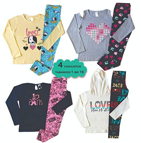 Kit com 4 Conjunto Infantil Juvenil Menina - Cotom Meia estação - 1 ao 16