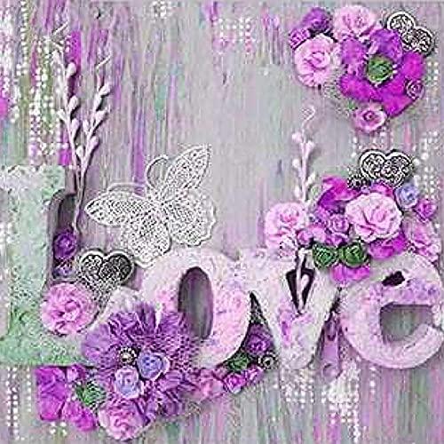 5D Diamond Painting Full Square drill Kits Carta de flores de amor DIY Pintura de Diamante Rhinestone bordado de punto de cruz artes manualidades para decoración de la pared del hogar(80x80cm/32x32in)
