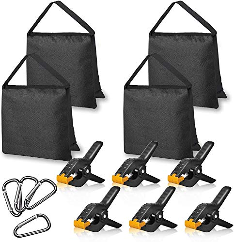 SHOPEE 4 Packs of Heavy Duty Sandbag and 6 Packs of 4.5 inch Heavy Duty Spring Clamps, Props for Photography Photo Video Studio to Fix Backdrop Stand Kit