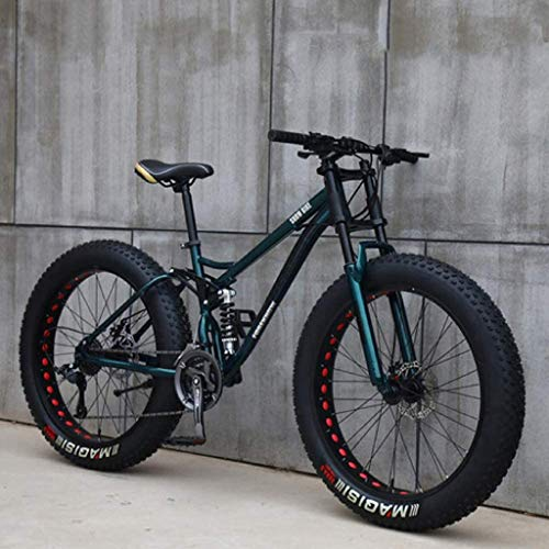 26 inch Mountain Bikes, MJH-01 Adult Fat Tire Mountain Trail Bike,24 Speed Bicycle, High-Carbon Steel Frame Dual Full Suspension Dual Disc Brake - Orange/Cyan