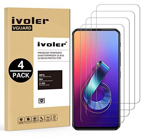 VGUARD [4 Pack Filme de Vidro Temperado para ASUS Zenfone 6 / 6Z ZS630KL 6.4 Polegadas [Garantia Vitalícia], Protetor de Tela Película Protetora para ASUS Zenfone 6 / 6Z ZS630KL 6.4 Polegadas