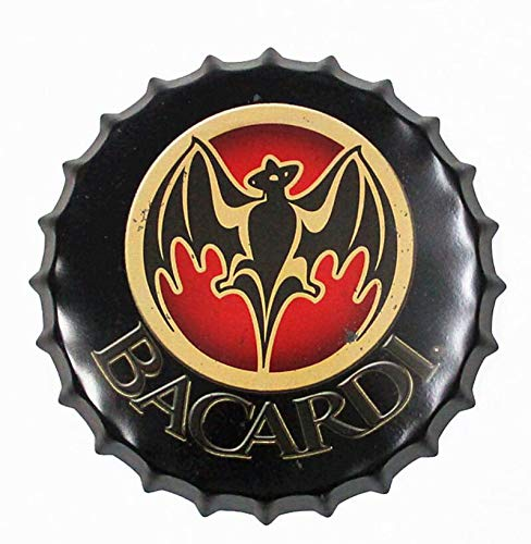 """2but Bacardi Decorative Bottle Caps Metal Tin Signs Cafe Beer Bar Decoration Plat 13.8"""" Inches Wall Art Plaque Vintage Home Decor"""