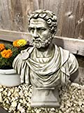 Estatua de busto romano de piedra reconstituida   Decoración clásica de jardín de hormigón vintage