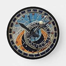 PotteLove Prague Astronomical Wooden Decorative Round Wall Clock