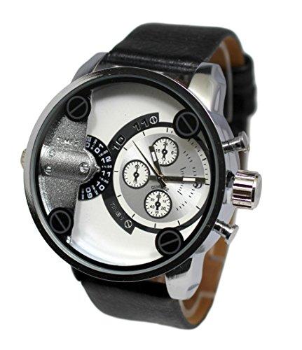 Giorgio & Dario Only the Brave - Reloj de pulsera, para hombre, esfera grande, acero, color negro