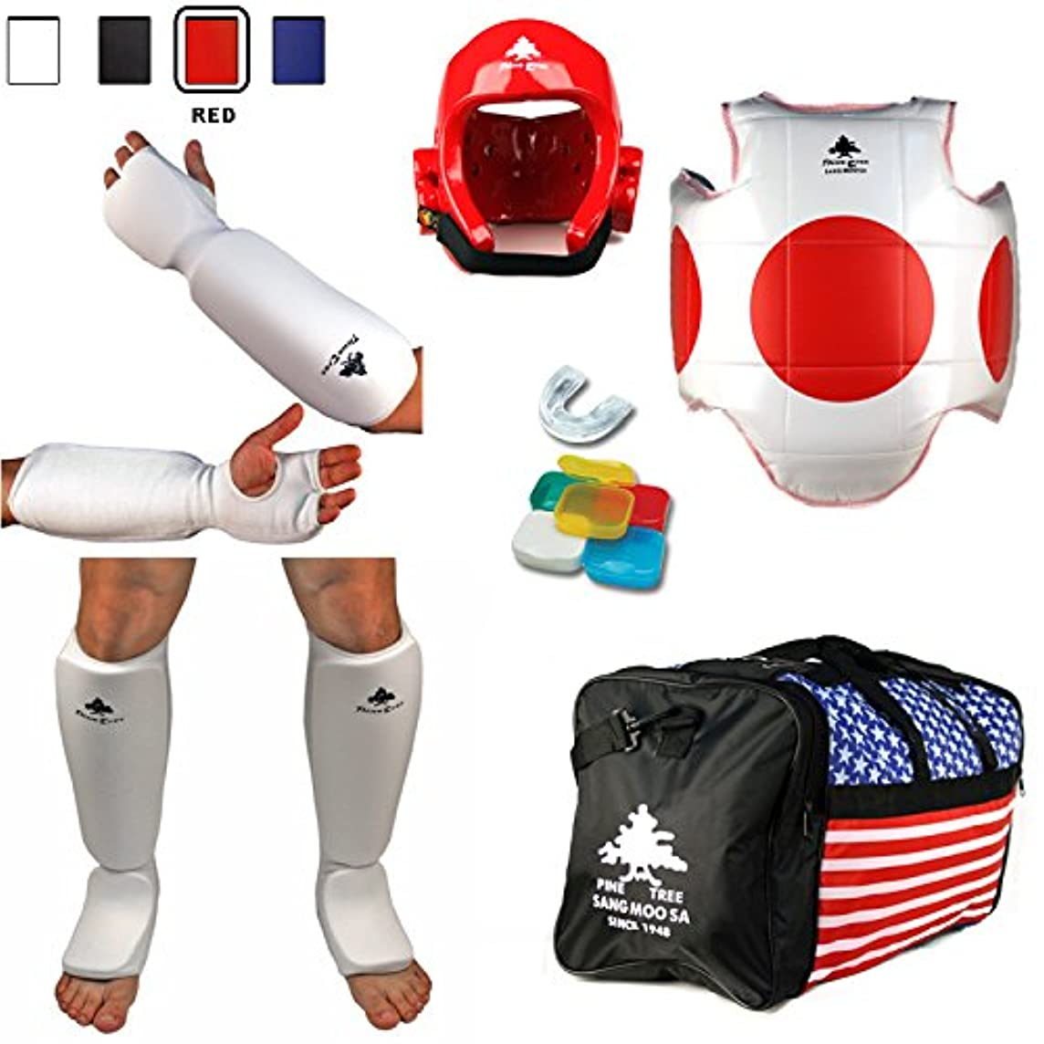 Pine Tree Complete Cloth Martial Arts Sparring Gear Set with Bag