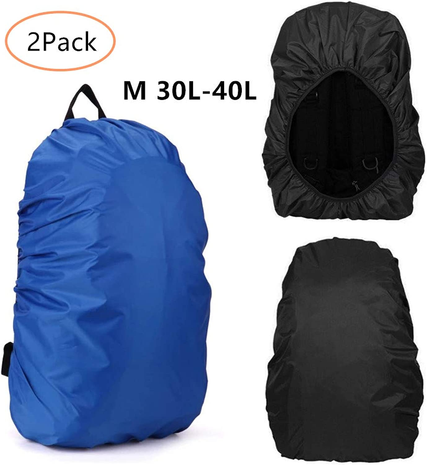 Leshiry Waterproof Backpack Rain Cover 30L40L 4555L, Elastic Adjustable Dustproof Rainproof Predector Pack Covers for Hiking Camping Cycling Traveling, 2Pack