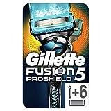 Gillette Fusion5 ProShield Regolabarba Uomo, Rasoio a Mano Libera, 6 Lamette da Barba (da 5 Lame), Striscia Lubrificante, Manico Ergonomico Tecnologia Flexball, Fino a 1 Mese di Rasatura con 1 Lametta