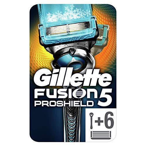 Gillette Fusion5 Proshield Chill Lamette di Ricambio per Rasoio, 1 Rasoio + 6 Lamette