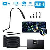 Xiaomax Wireless Endoscope, WiFi 1080P HD Borescope Inspection Camera 2.0 Megapixels Semi-Rigid Snake Camera, Waterproof 6 Adjustable LEDs Support iOS/Android Smartphone, iPhone, Samsung, Tablet (10M)