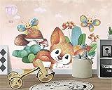 Fotomural 3D Animales de jardín de setas de dibujos animados rosa 450x300 cm -9 piezas Papel Tapiz Mural Para Bar Paredes De Fondo Papel Tapiz De Decoración De La Sala Papel pintado tejido no tejido