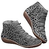 Botas de Nieve para Mujer Niñas,Botines de Invierno Impermeables Zapatos Planos Tacón Plano Ciudad Botas Piel Interior cálida Cómoda Negro Azul Rojo 2019 Botines de Mujer Botines de Invierno Cortos