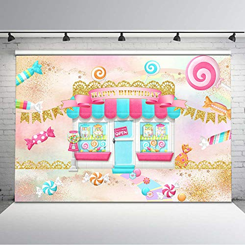 Avezano 7x5ft Candy Shoppe Birthday Backdrop Sweet Lollipop Candy Land Birthday Party Background Vinyl Candyland Birthday Party Backdrops Decorations for Children Kids