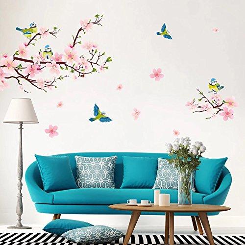 WandSticker4U- XL Wandtattoo PFIRSICHBLÜTE mit Vögeln Rosa I Wandbilder: 170x85 cm I Wand-aufkleber Kirsch Sakura Blumen Ast Baum-Zweig Sticker I Deko für Wohn-Schlafzimmer Kinderzimmer Flur Küche