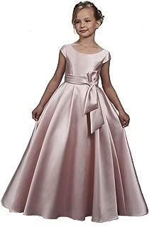 Satin Cap Sleeves Flower Girl Dress First Communion Ball Gown