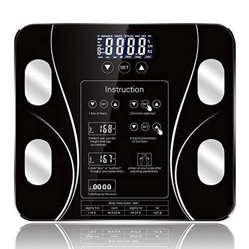 CFFDDE digitale weegschaal: de Engelse versie van het geharde touchscreen-glas met afgeronde hoeken kan gegevens van 10 personen opslaan voor de gezondheidsanalyse van het hele gezin. zwart
