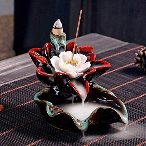 Mangetal Lotus Räuchergefäß mit Rückfluss Keramik Räucherkegel Sticks Brenner Handgefertigt Räuchergefäß Turmhalter