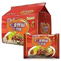泡面 方便面 牛肉面 インスタント麺 统一红油爆椒牛肉面 108g*5袋
