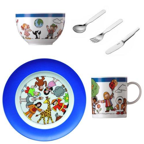 Thomas' 10850-320584-28364 - Vajilla de Porcelana para niños con diseño de diversas nacionalidades, Cubiertos, 1 Cuenco de Cereales, 1 Taza y 1 Plato