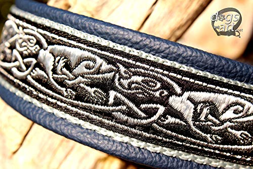 Hundehalsband Leder Keltische Drachen Dunkelblau Silber Klickverschluss Alu Hundehalsband mit Gravur