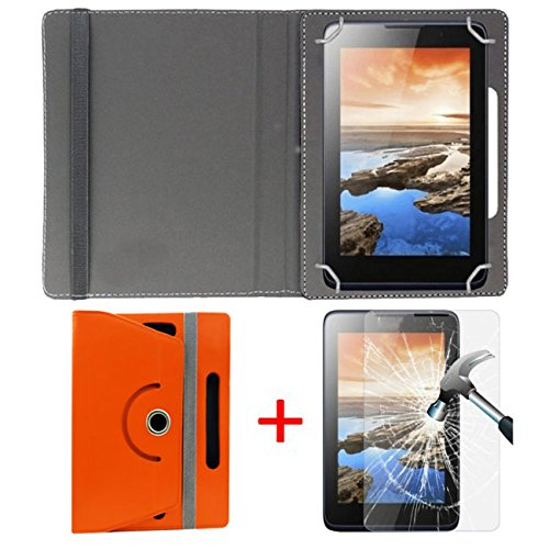 "Hello Zone Exclusive 360° Rotating 7"" Inch Flip Case Cover + Free Tempered Glass for Karbonn ST52 -Orange"