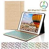 iPad 9.7Teclado Funda,Dingrich Bluetooth inalámbrico QWERTY Teclado Case Pare iPad 9.7 2018/2017 iPad Air 2/1 iPad Pro 9.7