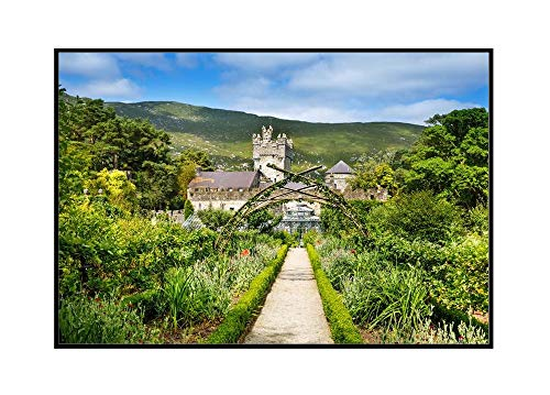 Glenveagh Castle & Park, Donegal in Northern Ireland A-9003283 (18x12 Framed Gallery Wrapped Stretched Canvas)