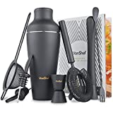 VonShef Premium Matte Black Parisian Cocktail Shaker Barware Set in Gift Box with Recipe Guide & Accessories