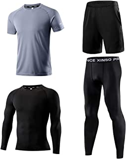 bulingbulingseason 4pcs/Set Men Sportswear Basketball Football Training Running Fitness Quickly Dry Clothes Pants Kit