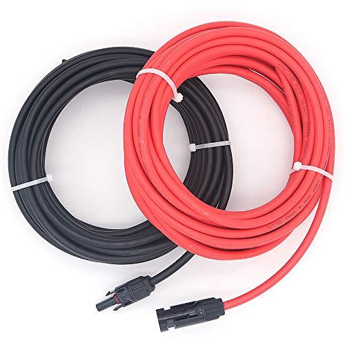 NUZAMAS - Par de Cables de extensión de núcleo único de 9,15 m (10 AWG) con Conectores (Macho y Hembra) para Paneles solares y Sistemas de energía Solar RV Caravan
