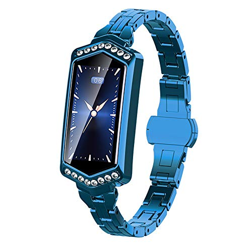 Q&N Bluetooth Smart Watch mit Pulsmesser Blutdruck Aktivität Fitness Tracker Frau Smart Armband Strass Armbanduhr,Blau