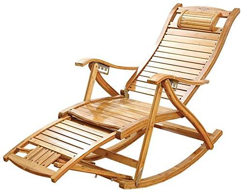 GBLight Reclining Sun Lounger Garden Bamboo Rocking Chair, Folding Outdoor Recliner, Home Elderly 5-Speed Adjustable Chair, Multi-Functional Camping