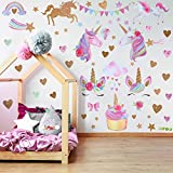 2 Sheets Unicorn Wall Stickers Wall Decals Pattern Decoration for Birthday Christmas Children Bedroom Ornament(Style 1)