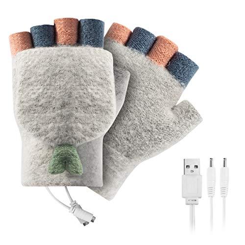 FAMKIT - Guantes calefactables con USB para hombre y mujer, unisex, guantes de invierno para manos calientes para ordenador portátil, manos de punto y medio calentados sin dedos, diseño lavabl