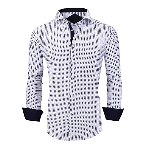 Men's Printed Dress Shirts Long Sleeve Non Iron Regular Fit Fashion Shirt,Blue1206,M