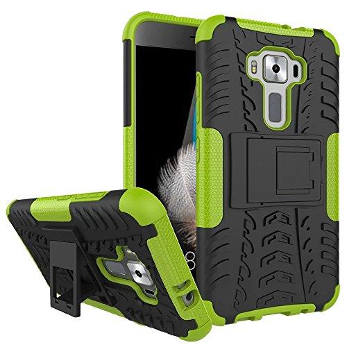 Sunrive Für ASUS ZenFone 3 ZE520KL 5,2 Zoll, Hülle Tasche Schutzhülle Etui Hülle Cover Hybride Silikon Stoßfest Handyhülle Hüllen Zwei-Schichte Armor Design schlagfesten Ständer Slim Fall(grün)